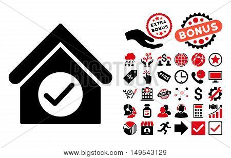 Check Building icon with bonus elements. Glyph illustration style is flat iconic bicolor symbols, intensive red and black colors, white background.