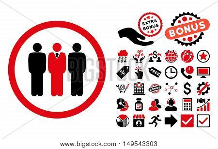 Clerk Staff pictograph with bonus icon set. Glyph illustration style is flat iconic bicolor symbols, intensive red and black colors, white background.