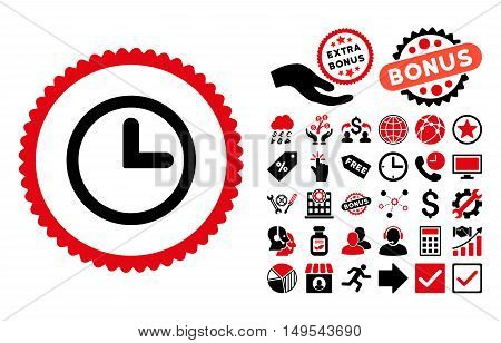 Clock pictograph with bonus clip art. Glyph illustration style is flat iconic bicolor symbols, intensive red and black colors, white background.