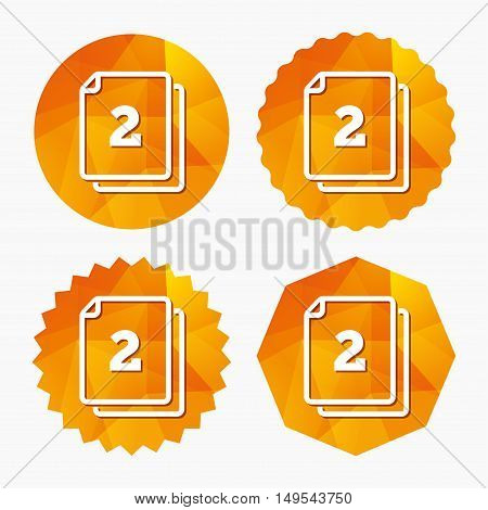 In pack 2 sheets sign icon. 2 papers symbol. Triangular low poly buttons with flat icon. Vector