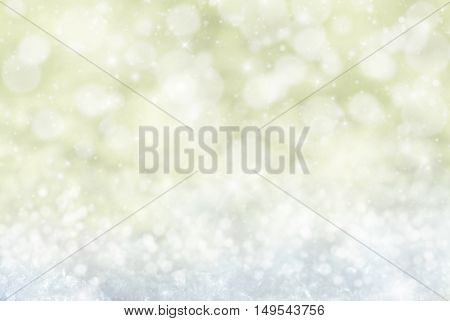 Christmas Texture With Sparkling Stars. Snow And Snowflakes With Golden Background. Magic Bokeh Effect With Lights. Copy Space For Advertisement. Card For Seasons Greetings