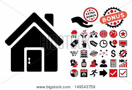 Closed House Door pictograph with bonus design elements. Glyph illustration style is flat iconic bicolor symbols, intensive red and black colors, white background.