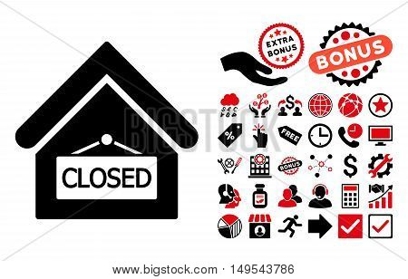 Closed Office icon with bonus icon set. Glyph illustration style is flat iconic bicolor symbols, intensive red and black colors, white background.