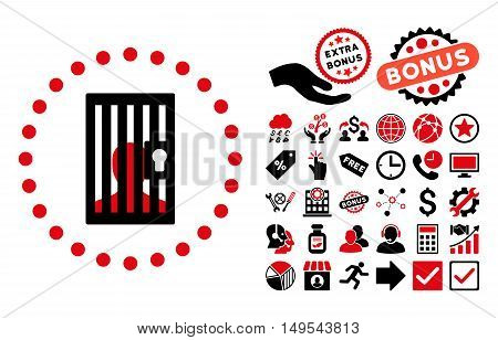 Closed Prisoner pictograph with bonus pictures. Glyph illustration style is flat iconic bicolor symbols, intensive red and black colors, white background.