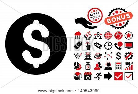 Coin icon with bonus elements. Glyph illustration style is flat iconic bicolor symbols, intensive red and black colors, white background.