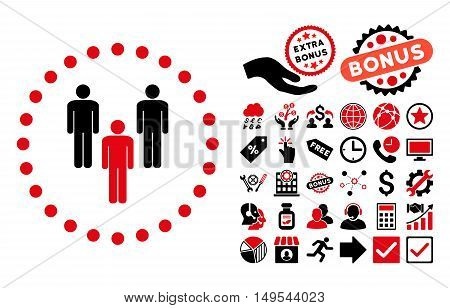Community icon with bonus design elements. Glyph illustration style is flat iconic bicolor symbols, intensive red and black colors, white background.
