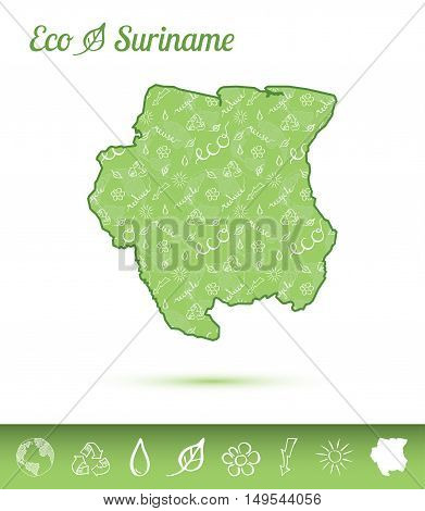 Suriname Eco Map Filled With Green Pattern. Green Counrty Map With Ecology Concept Design Elements.