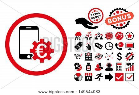 Configure Mobile Euro Bank icon with bonus design elements. Glyph illustration style is flat iconic bicolor symbols, intensive red and black colors, white background.