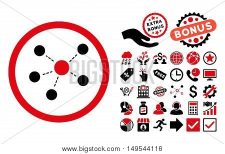 Connections pictograph with bonus images. Glyph illustration style is flat iconic bicolor symbols, intensive red and black colors, white background.