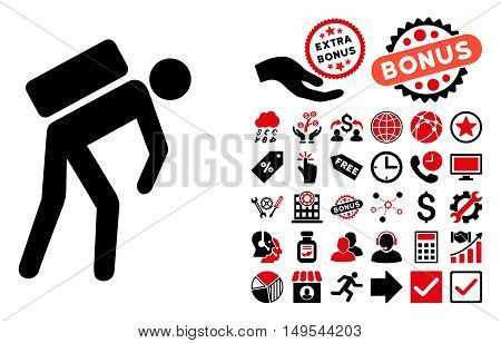 Courier icon with bonus images. Glyph illustration style is flat iconic bicolor symbols, intensive red and black colors, white background.