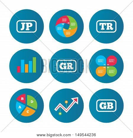 Business pie chart. Growth curve. Presentation buttons. Language icons. JP, TR, GR and GB translation symbols. Japan, Turkey, Greece and England languages. Data analysis. Vector
