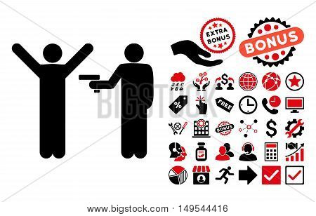 Crime Robbery pictograph with bonus pictures. Glyph illustration style is flat iconic bicolor symbols, intensive red and black colors, white background.