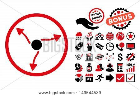 Curve Arrows pictograph with bonus design elements. Glyph illustration style is flat iconic bicolor symbols, intensive red and black colors, white background.