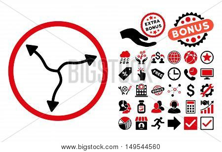 Curve Arrows pictograph with bonus images. Glyph illustration style is flat iconic bicolor symbols, intensive red and black colors, white background.