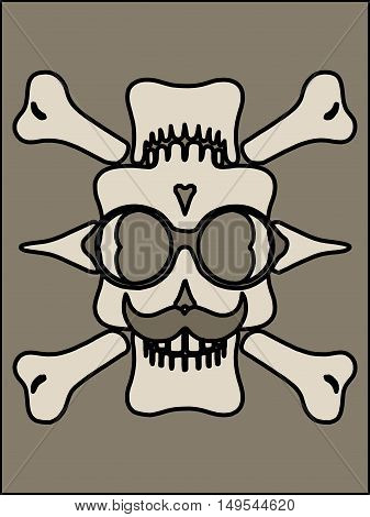 skull with mustache bones mustache and grey background