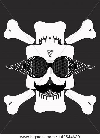 skull head with glasses and mustache in black and white