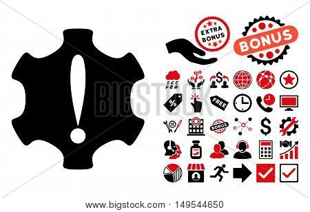 Danger icon with bonus pictures. Glyph illustration style is flat iconic bicolor symbols, intensive red and black colors, white background.