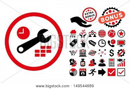 Date and Time Configuration icon with bonus design elements. Glyph illustration style is flat iconic bicolor symbols, intensive red and black colors, white background.