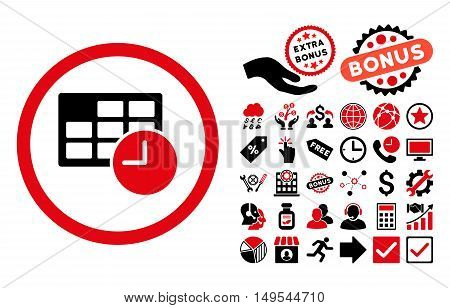 Date and Time icon with bonus icon set. Glyph illustration style is flat iconic bicolor symbols, intensive red and black colors, white background.