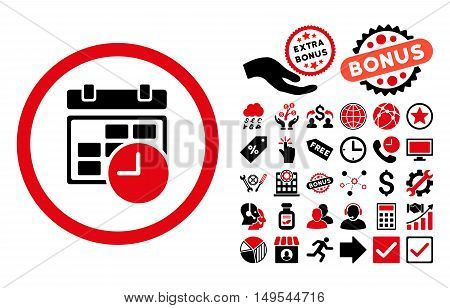Date and Time pictograph with bonus elements. Glyph illustration style is flat iconic bicolor symbols, intensive red and black colors, white background.