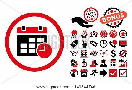 Date and Time pictograph with bonus icon set. Glyph illustration style is flat iconic bicolor symbols, intensive red and black colors, white background.