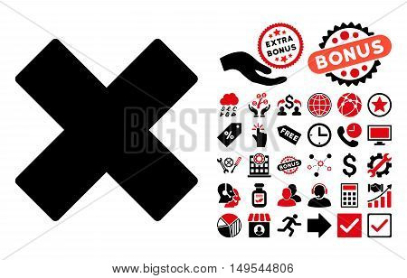 Delete X-Cross icon with bonus clip art. Glyph illustration style is flat iconic bicolor symbols, intensive red and black colors, white background.