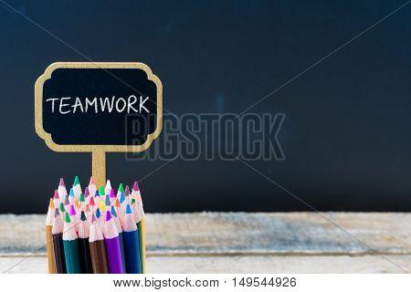 Wooden Mini Blackboard Label With Message Teamwork