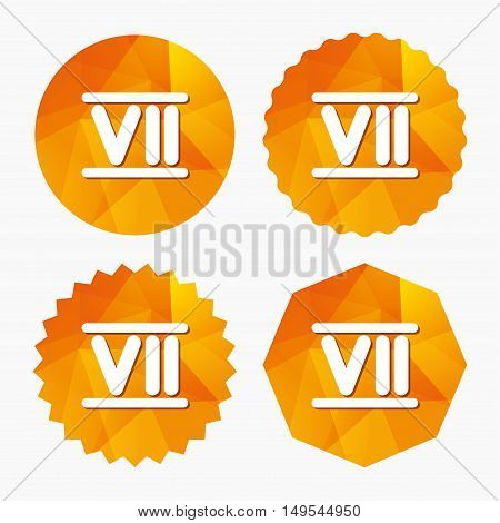 Roman numeral seven sign icon. Roman number seven symbol. Triangular low poly buttons with flat icon. Vector
