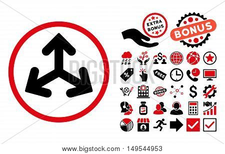 Direction Variants pictograph with bonus design elements. Glyph illustration style is flat iconic bicolor symbols, intensive red and black colors, white background.