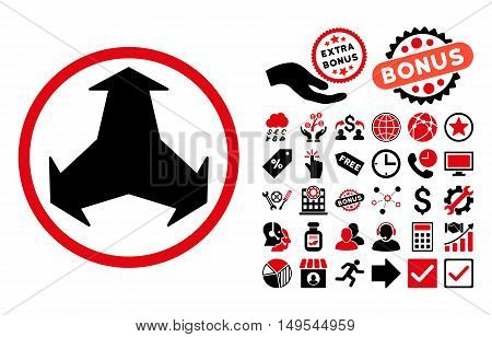 Directions pictograph with bonus images. Glyph illustration style is flat iconic bicolor symbols, intensive red and black colors, white background.