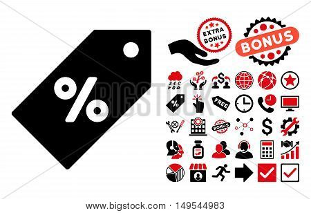 Discount Tag icon with bonus design elements. Glyph illustration style is flat iconic bicolor symbols, intensive red and black colors, white background.