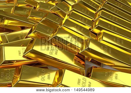 3d rendering of scattered fine gold bars