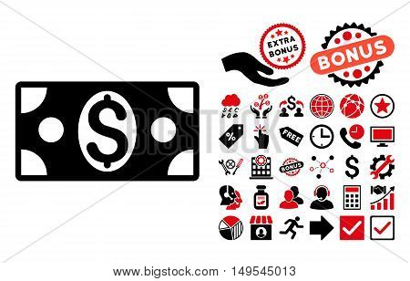 Dollar Banknote icon with bonus pictograph collection. Glyph illustration style is flat iconic bicolor symbols, intensive red and black colors, white background.