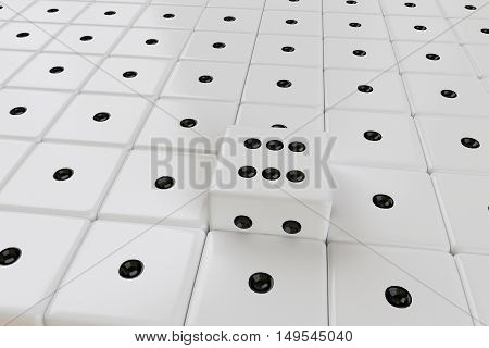 rows of white dices with one ejected, 3d rendering