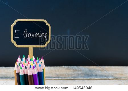 Wooden Mini Blackboard Label With Message E-learning