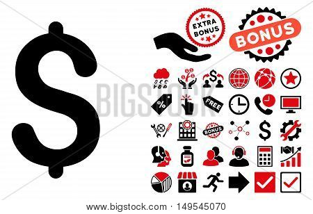 Dollar icon with bonus pictograph collection. Glyph illustration style is flat iconic bicolor symbols, intensive red and black colors, white background.