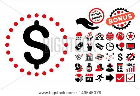 Dollar pictograph with bonus elements. Glyph illustration style is flat iconic bicolor symbols, intensive red and black colors, white background.