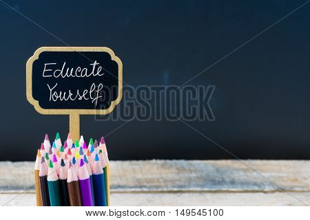 Wooden Mini Blackboard Label With Message Educate Yourself