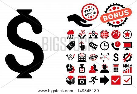 Dollar icon with bonus pictogram. Glyph illustration style is flat iconic bicolor symbols, intensive red and black colors, white background.
