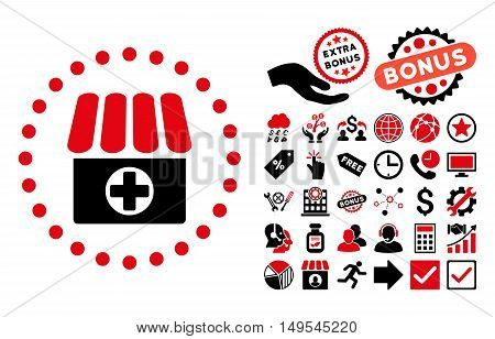 Drugstore pictograph with bonus elements. Glyph illustration style is flat iconic bicolor symbols, intensive red and black colors, white background.