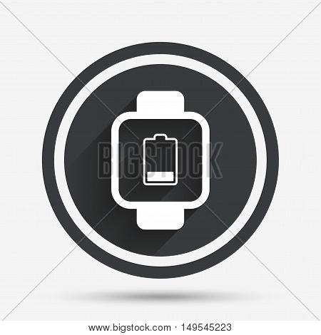 Smart watch sign icon. Wrist digital watch. Low battery energy symbol. Circle flat button with shadow and border. Vector