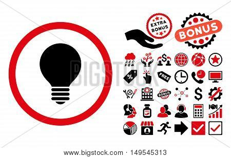 Electric Bulb pictograph with bonus pictures. Glyph illustration style is flat iconic bicolor symbols, intensive red and black colors, white background.