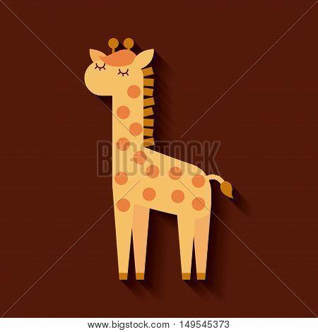 tender cute giraffe card icon vector illustration design