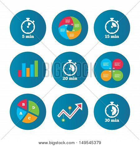 Business pie chart. Growth curve. Presentation buttons. Timer icons. 5, 15, 20 and 30 minutes stopwatch symbols. Data analysis. Vector