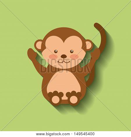 tender cute monkey card icon vector illustration design