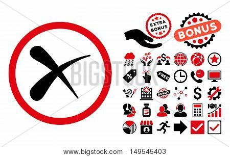 Erase icon with bonus pictures. Glyph illustration style is flat iconic bicolor symbols, intensive red and black colors, white background.