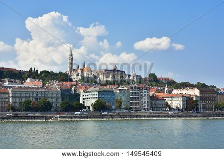 View of Budapest hill with Matthias Church Fisherman's Bastion and River Danube