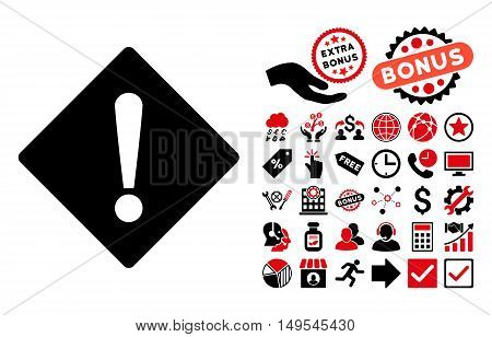 Error icon with bonus clip art. Glyph illustration style is flat iconic bicolor symbols, intensive red and black colors, white background.