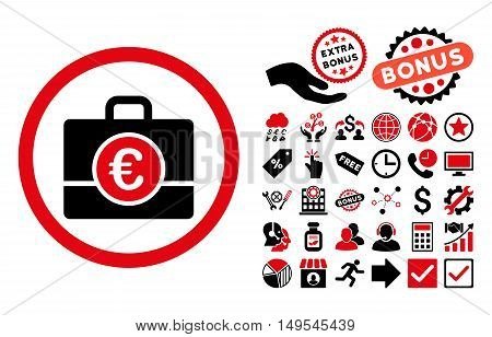Euro Accounting Case icon with bonus symbols. Glyph illustration style is flat iconic bicolor symbols, intensive red and black colors, white background.