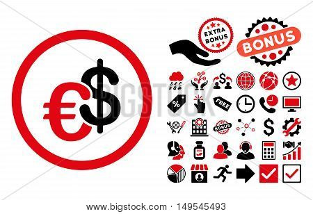 Euro and Dollar Currency pictograph with bonus elements. Glyph illustration style is flat iconic bicolor symbols, intensive red and black colors, white background.